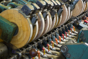 Flax fibers processing - machinery close-up