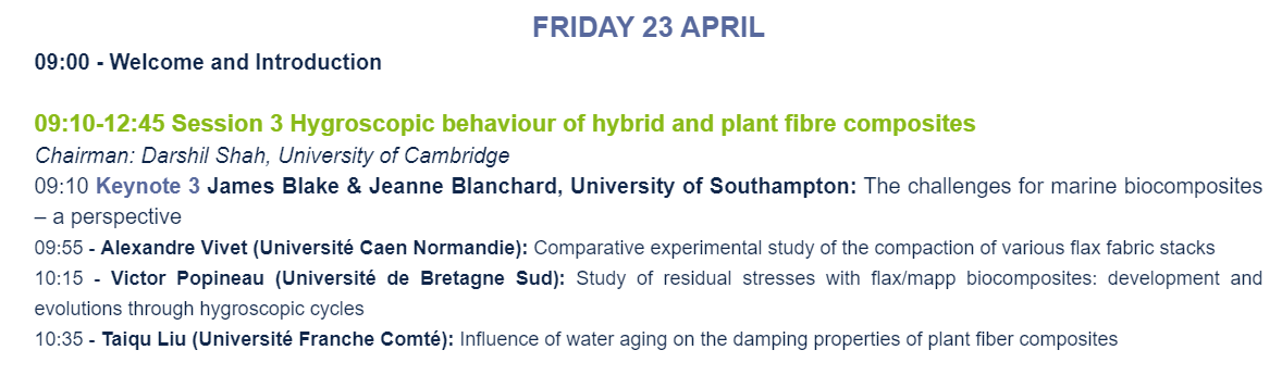 Provisional programme of the Conference on Biobased Composites in the Marine Environment
